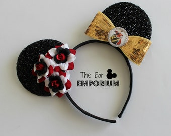 Queen of Hearts Inspired Minnie/Mickey Mouse Ears Headband ~ Alice in Wonderland ~ Alice Through the Looking Glass
