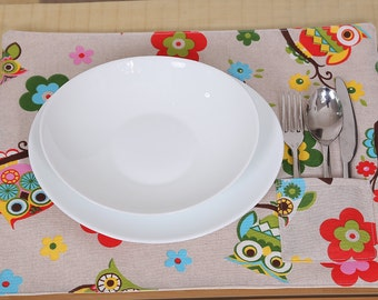 Table Placemats Owls detail