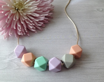SALE*** DOVE - Silicone Teething Necklace - Peach, Lilac, Mint, Grey, Pastel Teething Necklace, BPA free, Food Grade Silicone, Baby Shower