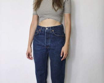 Vintage Levi's 501 Denim Jeans 26 | Levis 501 High Waist Denim Jeans | Dark Blue Denim Jeans