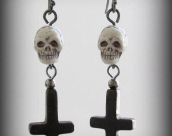 SALE 50% OFF - Satanic Inverted Cross Skull Earrings