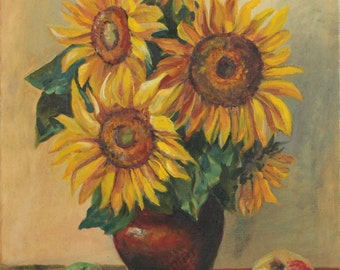 Hand painted Original Sunflowers Oil Painting on Canvas Impressionism