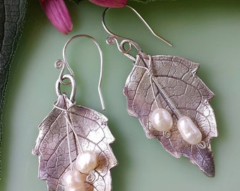 Fine Silver Leaves, Pearl, Handmade Earrings
