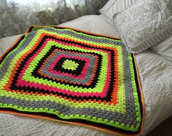 Vintage Style Neon Granny Square Blanket