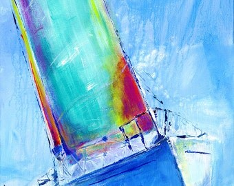Port Tack: Fine art giclee print of sailboat from original acrylic painting