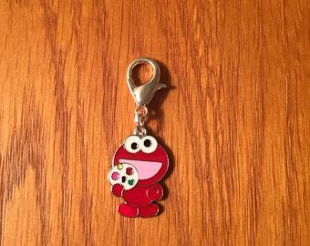 Elmo zipper charm with key ring, Elmo charm, Elmo zipper charm, Elmo from Sesame St charm, Sesame Street charm, Sesame Street zipper charm