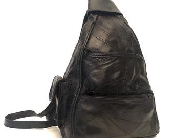 Vintage vegan black backpack
