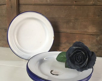 8 - Vintage Enamelware Plates with Blue Trim