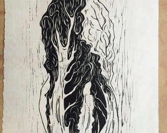 Napa Cabbage .. Black and white woodcut print ..