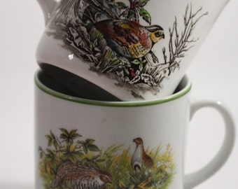 Two Pheasant Coffee Mugs Cups ~ Set of 2 Complimentary Not Matching Made in Germany/England ~  Nature Scenes ~ English Country, Rustic Cabin