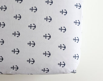 Fitted Crib Sheet - Ready to Ship -Toddler Sheet - Blue Anchor Nautical