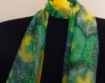Handpainted Long 100% Silk Scarf. Symphony of yellow & blue. Gift for her. Birthday Gift
