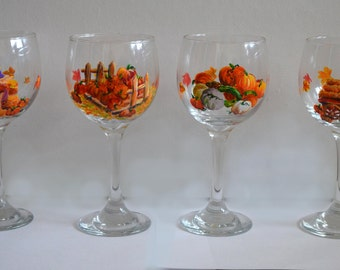 Hand Painted Fall Wine Glasses