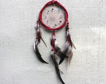 Dreamcatcher // Large Wooden Dreamcatcher // Beaded Dreamcatcher // Feather Dreamcatcher // Red Dreamcatcher // Boho Decor // Wall Decor