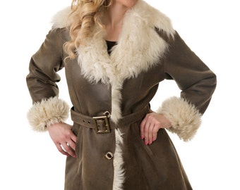Shearling Coat with Matching Hat