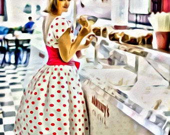 Pin-Up Ice Cream Shop - Print or Canvas