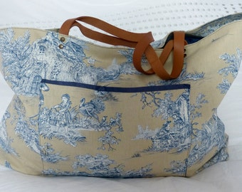 Large tote Toile de Jouy blue and sand