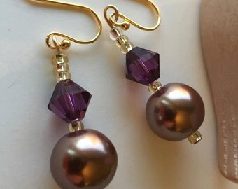 Paula earrings, bronze glass pearl, purple Swarovski crystal