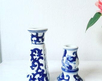 Vintage 'Fraternal' Blue & White Candle Stick Holders