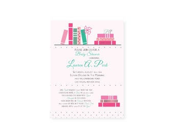 Baby Shower Book Themed Invitation Boy, Girl or Gender Neutral