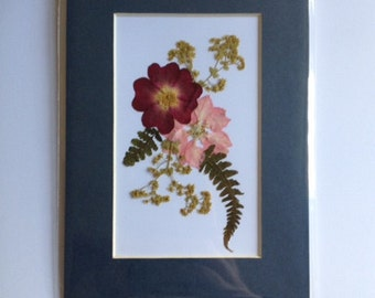 Handmade Pressed Flower Picture (mounted, ready for framing)