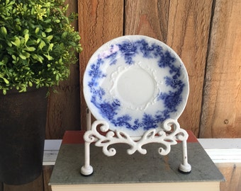Rare Old English Earthenware Flow Blue Plate