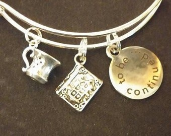 Book Lover Bangle Bracelet
