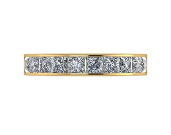 Square Eternity Moissanite Ring in 9 Carat Yellow Gold
