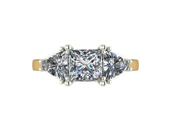 Vintage Trilogy Moissanite Ring in 9 Carat Yellow or White Gold