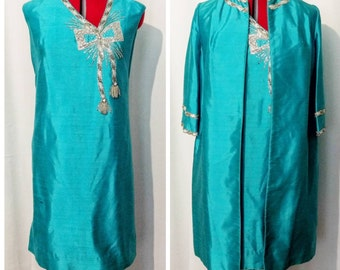 Diane Imports Turquoise Silk Beaded Dress with Matching Jacket