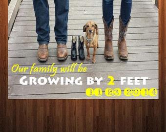 Pregnancy Annoucement, Boot Pregnancy Annoucement, With Dog Pregnancy Annoucement