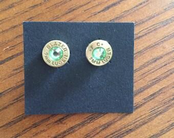 9mm Bullet Casing Earrings - Peridot  Rhinestones on Brass/Nickel Casing