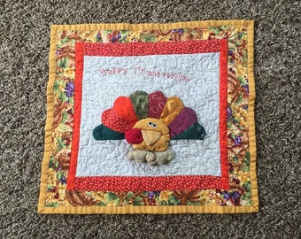 Quilted Wall Hanging - Happy Thinkgiving Quilt - unique