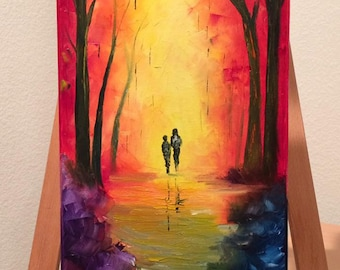 "Autumn Leaves - Sunset -  Romantic - Wall Art - ""Subconscious"" oil painting by Greg Gilreath"