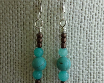 Turquoise and Amazonite Stone Beaded Earrings