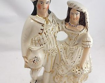 Antique Victorian Collectable Sampson & Smith China Figurine Tudor Couple - Made in England  - c1890