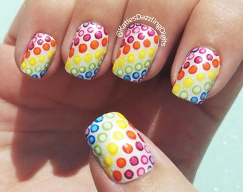 Handpainted Rainbow dotticure Square fake press on nails