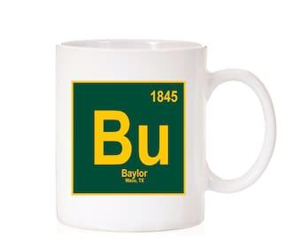 Baylor University Periodic Style Mug | Baylor Bears | Waco TX |  BU | Dark Theme