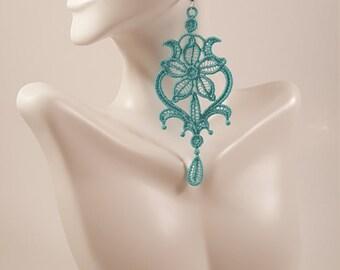 Aqua lace earrings blue lace jewelry Blue embroidered earrings Statement earrings Drop earrings Dangle earrings  blue lace earrings