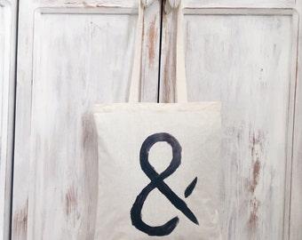 Cotton Canvas tote bag ampersand symbol black linnen &