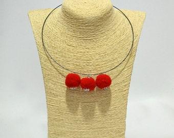 Choker necklace with beads soft felt metallic detail handmade red