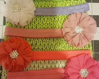handmade set of 4 baby headbands