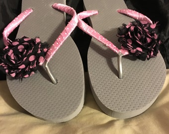 Pink-Silver Flower Flip Flops