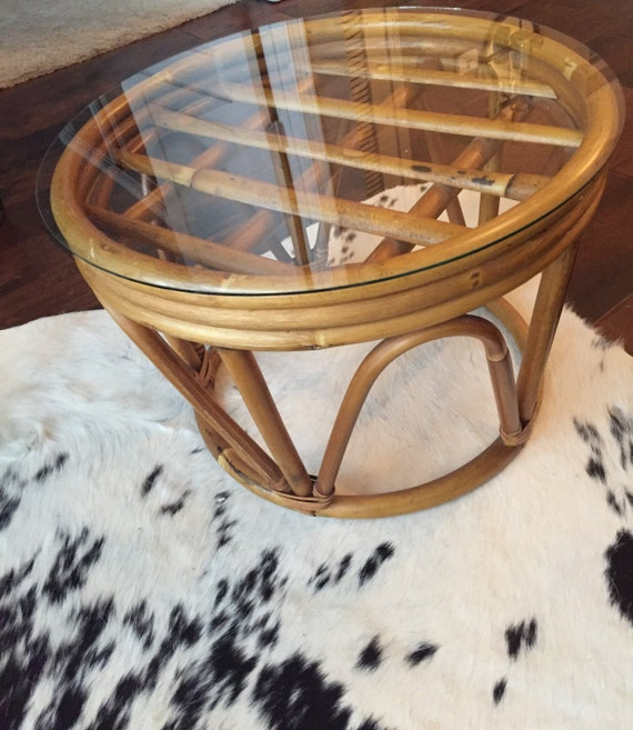 Rattan Coffee Table Etsy: Vintage Bentwood Rattan Side Table / Stool / Plant Stand