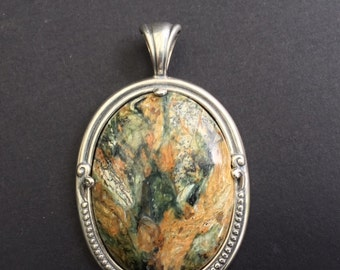 Pendant1F, sterling silver, jasper