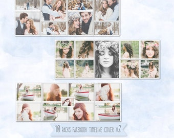 Facebook Timeline Cover V2 (10 Packs) template photo collage - Photoshop Template - Instant Download SKU: HD111