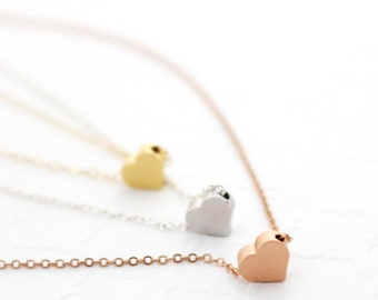 Xmas Gift for Sister Jewelry, Tiny Heart Necklace, Rose Gold Heart Necklace, Minimalist Gold Fill Necklace Delicate Heart Pendant Necklace