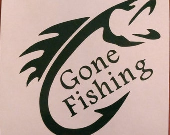 Gone Fishing Decal - permanent vinyl - perfect for Yeti & Rtic cups, boats, truck windows etc. Decal only. Lake house or Man cave idea!