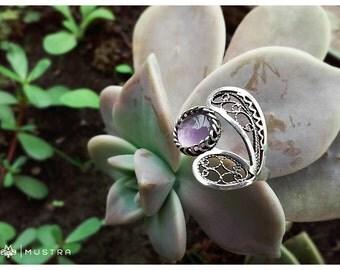 Handmade silver filigree Amethyst ring
