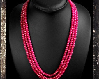 20% OFF COUPON!!!---Red Ruby Bead Necklace, 3 strand, 408 ctw